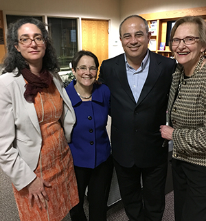Thea Buxbaum, Nancy Lewis, Annual Lecturer, Mohammad Darawshe and Founder, Ruth Schulman at after lecture reception on April 12, 2016.